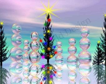Printable wall art, ice, snowman, Christmas cards, winter scene, fantasy trees, Christmas wall decor, digital print, INSTANT DOWNLOAD