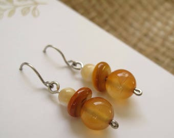 Earrings - Peaches and Cream Neutral Petite Beaded Dangles