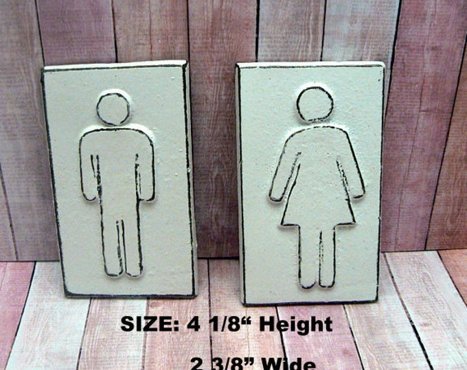 Men Womens Cast Iron Bathroom Wall Sign Shabby Chic White Home Office Decor