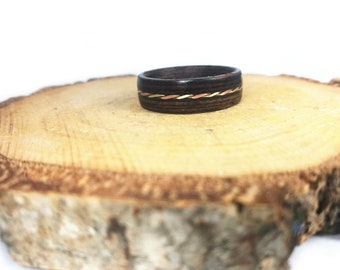 Wooden ring for woman, wooden ring for man, anniversary ring, custom band, paper anniversary, wood inlay ring, women's day gift, wooden band