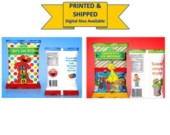 Sesame Street Party - Elmo Party - PRINTED & SHIPPED - Capri Sun Labels - Rice Krispies - Candy Favors - Chip Bag - Juice Labels - Custom