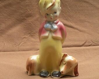 Vintage Ceramic Figurine - Boy With Dog - Mid Century - German
