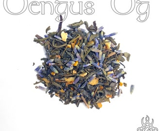 Oengus Og Tea - loose leaf green tea, orange lavender tea, Celtic pagan, Aengus Og, devotional tea, Irish deity, love and beauty, swan god