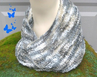 SALE 50 off  Knitted Cowl Mens Womens Scarf Mohair /Circle scarf  Birch Forest /neckwarmer scarf /gray Scarf
