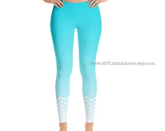 Workout Leggings, Gym Leggings, Fitness Leggings, Aqua Chevron Patterned Leggings