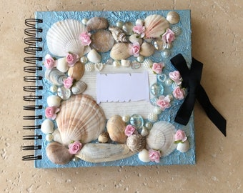 Shell Visitor Guest Book Unique Hand Crafted Personalised Pretty Design for Weddings, Anniversaries, Birthdays, Special Occasions and Events