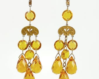 Czech Art Deco Earrings Faceted Crystal Drops Statement Jewelry