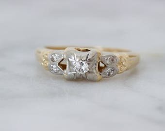 Art Deco Engagement Ring | Antique Diamond Ring | Vintage Promise Ring | 1930s Jewelry | 14k Yellow Gold | Pinky Rings | Size 4.75 Sizable