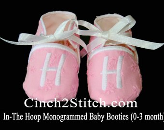 Monogrammed Baby Shoes/Booties - In The Hoop - Machine Embroidery Design Download - (0-3 month size)