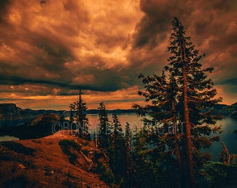 Colorful Crater Lake Sunset - painted photo, oregon national park, pacific northwest images, sunset at Crater Lake, dramatic sky, wall art