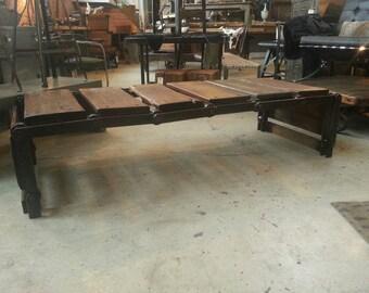 Vintage industrial conveyor coffee table/bench