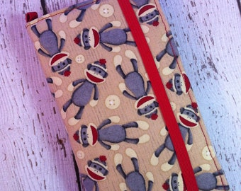Samsung Galaxy wallet, Galaxy case - Sock Monkey print with removable gel case
