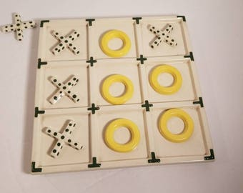 Tic Tac Toe Ceramic Coffee Table Game Decor Green Polka Dot and Yellow X Vintage Games Office Decor