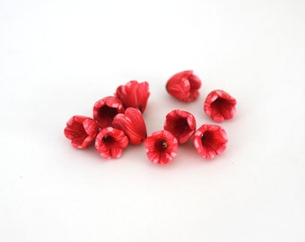 Red Tulip Beads, Spring Flowers, Polymer Clay Flower Beads 10 pieces