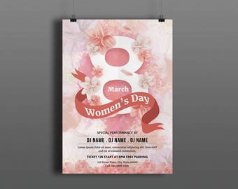 Womens Day Party Invitation Flyer Template     Women's Day Flyer    Ms Word, Photoshop & Elements Template  Instant Download