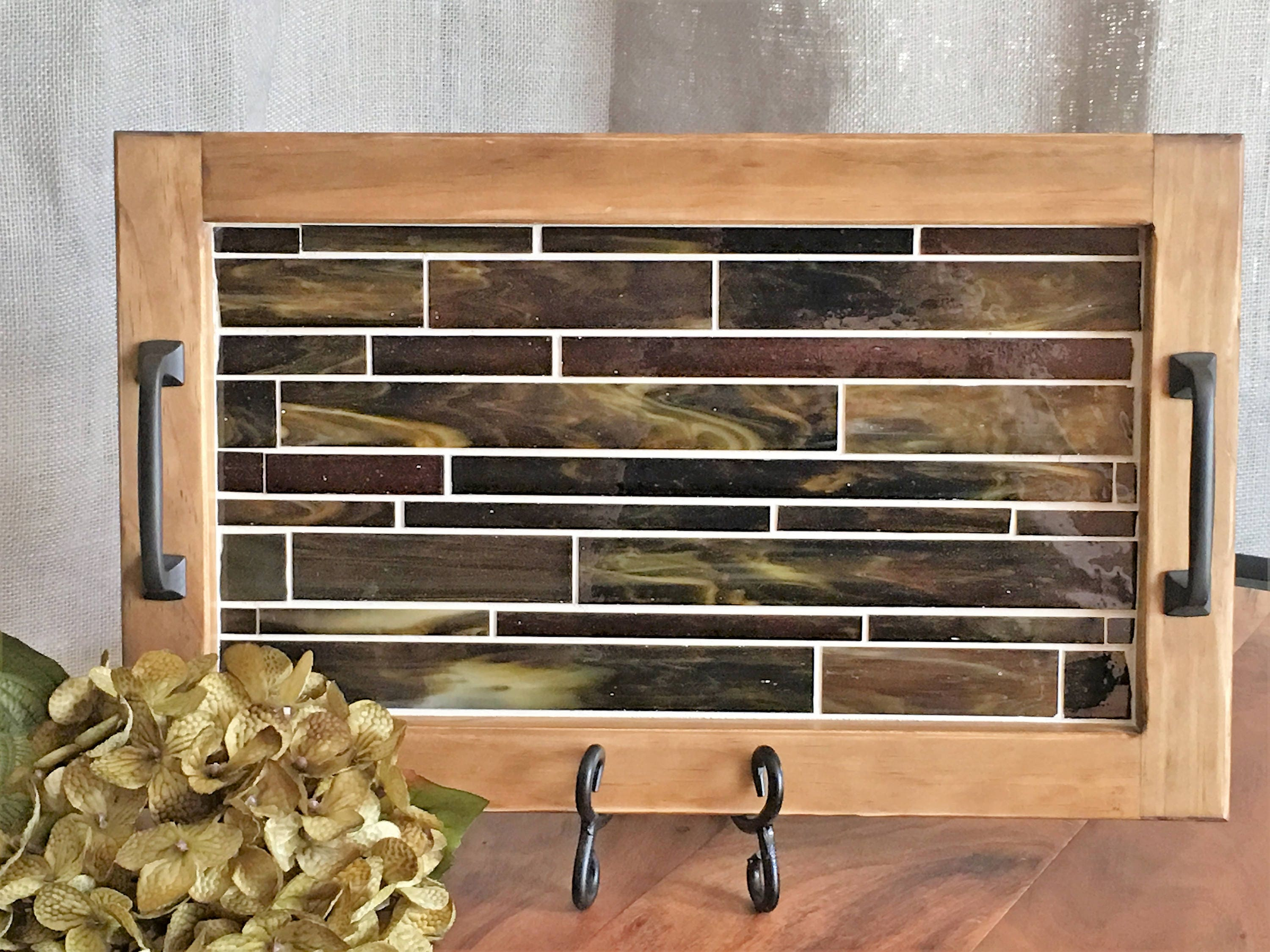 Wood Serving Tray with Handles Vanity Tray Mosaic Tile