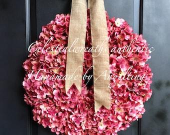 spring wreath - summer wreath - hydrangea wreath - easter wreath - mothers day - housewarming
