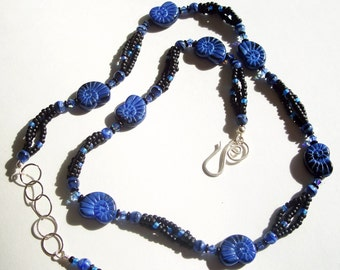 Royal Blue and Black Nautilus Seashell Motif Necklace and Earrings Set by Carol Wilson of Je t'adorn