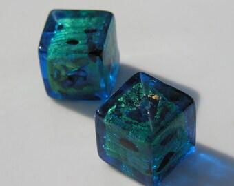 Gorgeous Teal BLue Leopard Venetian Glass Cube Bead  ONE