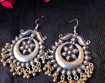 Afghani earrings, Kuchi Tribal Chandelier Earrings, Bohemian,Vintage,Gypsy,Banjara jewelry,Oxidized Silver,German Silver,Alpaca Silver,Boho
