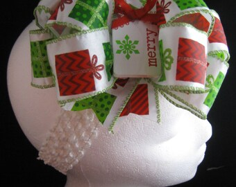 Christmas Present Gifts Red Geen Over-The-Top Hair Bow Hairbow