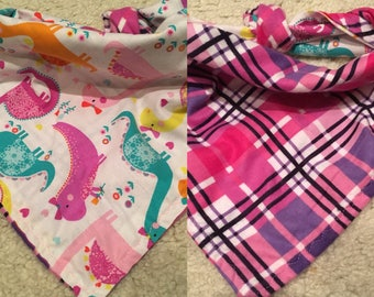 25 inch dinosaurs with pink and purple plaid around the neck tie on bandana