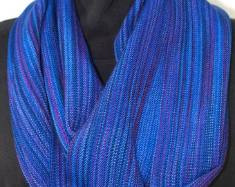 Handwoven Tencel Infinity Scarf, Variegated Blues Magenta and Black