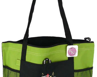 G Clef & Notes Gemline Select Zippered Tote Lime Green Bag READY TO SHIP! Monogram Custom Embroidered Music Teacher Musician Gift