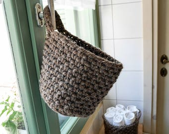 Hanging storage basket, crochet door basket set of two, hanging storage door knob basket, housewarming gift, crocheted basket