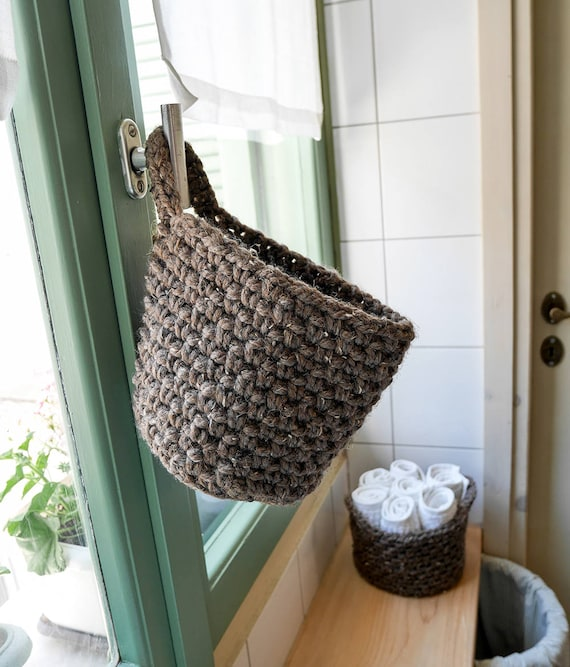 & Hanging storage basket crochet door basket set of two