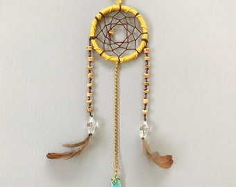 """2"""" Mustard Yellow and Brown Mini Dream Catcher - gift for her, car mirror charm"""