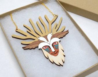 Princess Mononoke Forest Spirit Laser Cut Wood Necklace