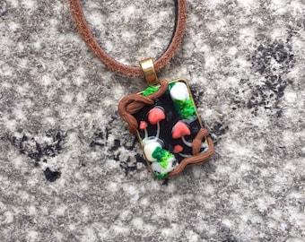 Pink Mushroom Pendant Necklace