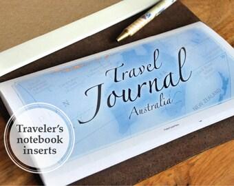Printable Travel Journal Book - Midori travelers notebook REGULAR size book insert refills - Australia
