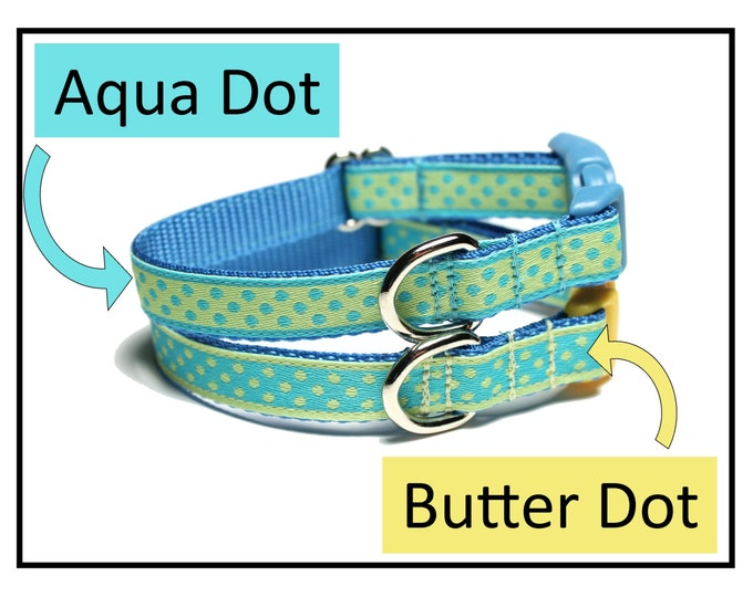 "Featured listing image: Aqua Dots or Butter Dots Dog Collar - 1/2"" (13mm) wide - Thin Dog Collar - your choice of size, color and style - small dot"
