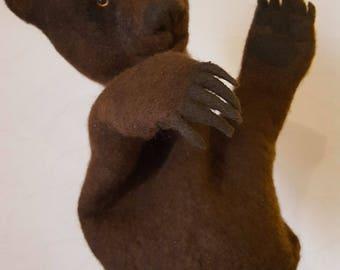 A glove puppet,toy hand puppets,glove puppet bear,felted glove puppet,doll, bibao,felted bear hand felted bear