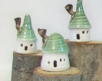 Mini Houses - Pastels - Set of 3-  Green Roofs - Garden Houses, Indoor Decor - Handmade, Wheel Thrown --Ready to Ship