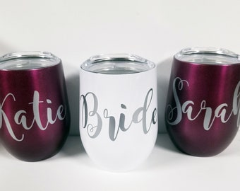 Stainless Steel Wine Tumbler, Bridesmaid Gift, Bachelorette Party, Personalized Monogrammed Tumbler With Lid