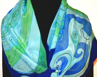 Silk Scarf Handpainted. Blue, Turquoise, Teal Hand Painted Shawl. Handmade Silk Wrap ATLANTIS GARDEN. Large 14x72. Anniversary, Mother Gift