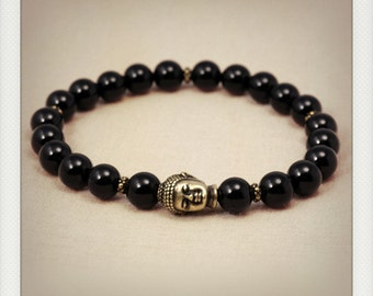 Black onyx wrist mala style bracelet - antique brass buddha head