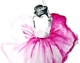 """Print from original watercolor painting 'The Tutu Dancer"""""""