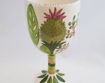 plant love ceramic wine goblet hand painted one of a kind