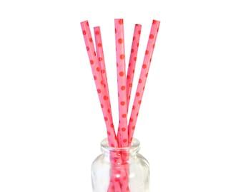 Papieren rietjes / Set van 10 decoratieve rietjes / Feestdecoratie / roze + rode Polka Dots biologisch afbreekbaar Cakepop Sticks / meisjes verjaardagsfeest