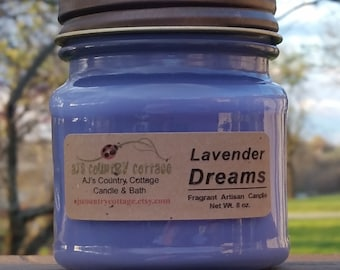 LAVENDER DREAMS CANDLE - Lavender Candles, Herb Candles, Herbal Candles, Floral Candles, Flower Candles, Scented Candles, Spring Candles