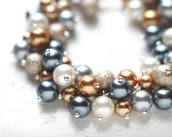 Grey and Gold Bracelet, Bridesmaid Jewelry, Pearl Cluster Bracelet with Ivory and Beige Colors