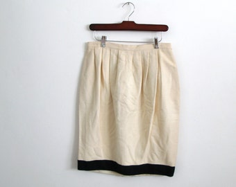 white silk skirt - 80s vintage krizia minimalist designer black textured color block bubble high waisted knee length mini short medium
