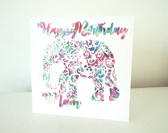 Happy Birthday personalised elephant Card ~ Papercut Card ~ Birthday Card ~ Greetings Card