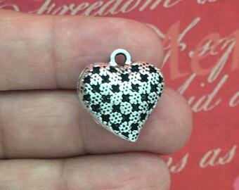 BULK 8 Silver Heart Charm SP1557B