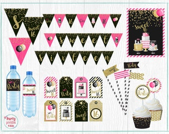 Sweet 16 Party Pack, Sweet Sixteen Birthday Party Decoration, Full Package, Printable PDF