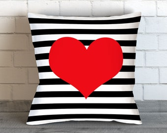 Red Heart Pillow, Red Decorative Pillow, Hearts Cushion, Valentines Day, Red Heart, Red Pillow, Stripes Pillow, Heart Bedding, Heart Pillows